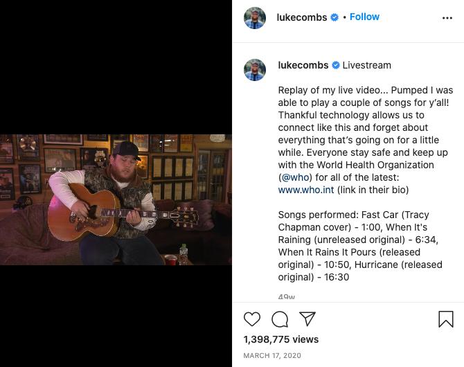 Luke Combs Instagram Live