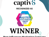 """Captiv8 Named """"Best Influencer Marketing Company"""" in 2021 MarTech Breakthrough Awards Program, Adding to This Year's Award Wins"""